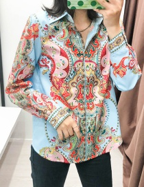 Fashion Color Printed Lapel Shirt