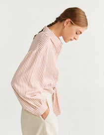 Fashion Pink Tie Striped Shirt