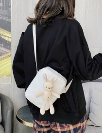Fashion White Cartoon Bunny Doll Canvas Shoulder Crossbody Bag