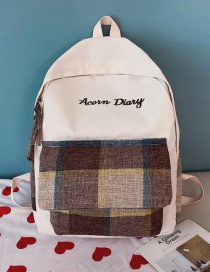 Fashion Brown Canvas Plaid Contrast Backpack