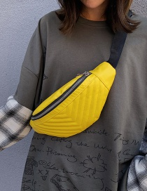 Fashion Yellow Lingge Sewing Thread Shoulder Bag