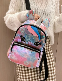 Fashion Pink Star Unicorn Sequins Parent-child Backpack