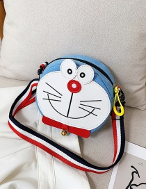Fashion Light Blue Cartoon Cat Canvas Shoulder Messenger Bag
