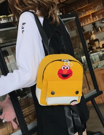 Fashion Yellow Canvas Cartoon Label Backpack