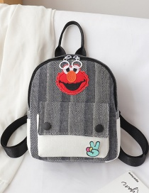 Fashion Gray Canvas Cartoon Label Backpack