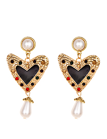 Fashion Black Alloy Love Pearl Stud Earrings