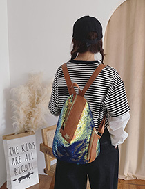 Fashion Diamond Blue Sequin Stitching Backpack
