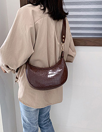 Fashion Brown Crocodile Hand Shoulder Bag