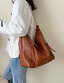 Fashion Brown Stitched Zipper Shoulder Bag