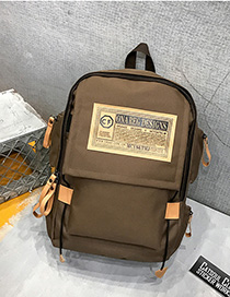 Fashion Brown Labeled Contrast Backpack