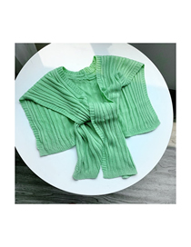 Fashion Light Green Knitted Knotted Small Shawl