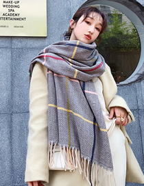 Fashion Gray Houndstooth Cashmere Thick Shawl Scarf