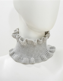 Fashion Light Gray Knit Short Wool Scarf
