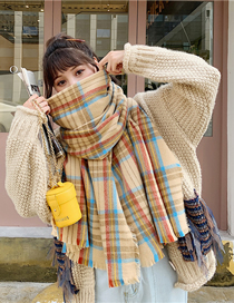 Fashion Yellow Plaid Vertical Stripes Fringed Plaid Imitation Cashmere Shawl Scarf
