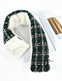 Fashion Plaid Green Imitation Rabbit Fur Houndstooth Collar