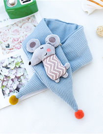 Fashion Sky Blue Little Mouse Triangle Scarf Baby Scarf
