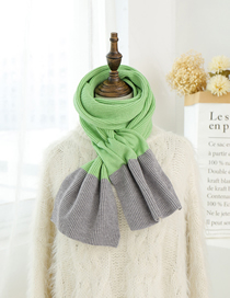 Fashion Grass Green Ash Color Matching Knitted Wool Scarf