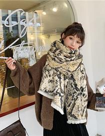 Fashion Khaki Crepe Imitation Cashmere Scarf