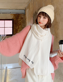 Fashion White Knitted Letter Scarf