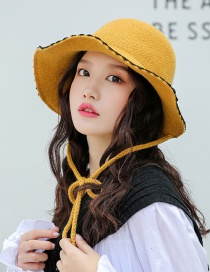 Fashion Yellow Solid Color Wool Lace Tether Knit Hat