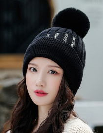 Fashion Black Knitted Double-layer Plus Velvet Thick Wool Cap