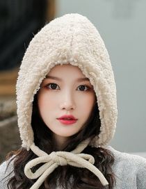 Fashion White (adult) Thickened Lambskin Knit Plus Velvet Pointed Parent-child Cap