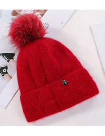 Fashion Red Double Layer Rabbit Fur Knit Flamingo Hair Ball Wool Cap