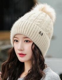 Fashion Beige Rabbit Fur Knit Hemp Pattern With Flannel And Wool Cap