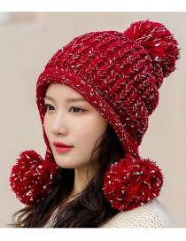 Fashion Red Wine Three Hair Ball And Velvet Knitted Wool Cap