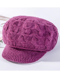 Fashion Rose Purple Hemp Pattern Rabbit Fur Plus Velvet Knit Hat