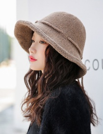 Fashion Khaki Tethered Bow-knitted Knit Wool Cap