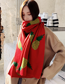 Fashion Red Knitted Crescent Long Scarf