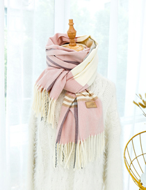 Fashion Light Purple Herringbone Imitation Cashmere Shawl Scarf Dual Purpose
