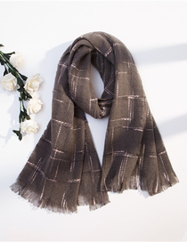 Fashion Gray Plaid Imitation Cashmere Fringed Shawl Scarf Dual Use