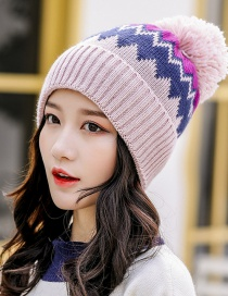 Fashion Pink Hair Ball Color Matching Knitted Wool Cap