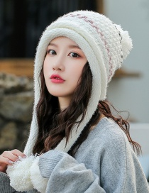 Fashion White Double-layer Plus Velvet Color Matching Three Hair Ball Wool Cap