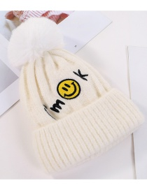 Fashion White Embroidered Smiley Face And Cashmere Hat