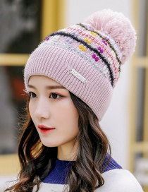 Fashion Pink Knitted Color Matching Wool Ball Cap