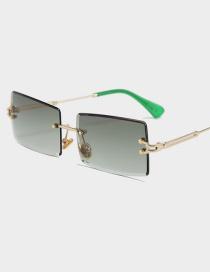Fashion Gold Frame Green Ash Frameless Trimmed Square Sunglasses