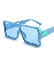 Fashion Blue Box Blue Square Siamese Sunglasses