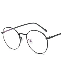Fashion Bright Black Frame Round Metal Frame Flat Mirror Glasses