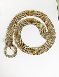 Fashion Gold Alloy Diamond Round Belt