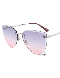 Fashion Gray Red Cut Square Box Sunglasses