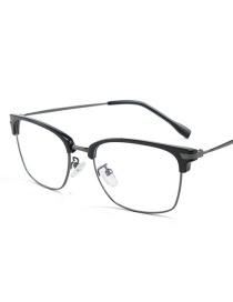 Fashion Black Eyebrow Gun Frame Eyebrow Half Frame Flat Mirror Glasses
