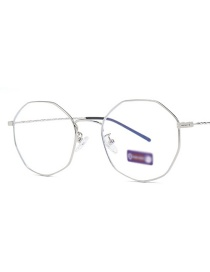 Fashion Silver Frame Anti-blue Light Irregular Glasses Frame Flat Mirror Glasses