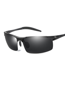 Fashion Black Frame Black Gray Color Changing Sunglasses