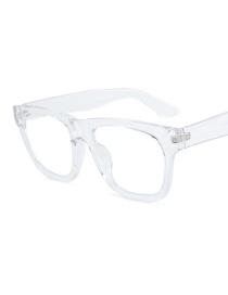 Fashion Transparent Frame Blu-ray Flat Mirror Glasses