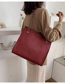Fashion Red Chain Rhombic Shoulder Bag  Pu