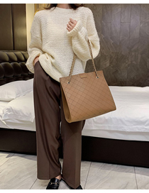 Fashion Brown Chain Rhombic Shoulder Bag  Pu