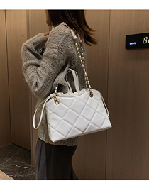 Fashion Creamy-white Chain Rhombic Shoulder Messenger Handbag  Pu